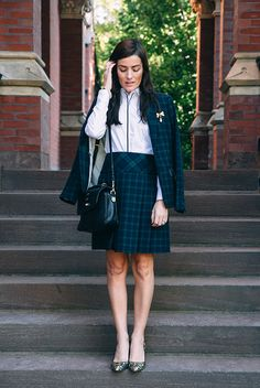 Blazer, shirt, and skirt by Brooks Brothers, bag by Mulberry, shoes by J.Crew. (September 29, 2014)