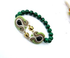 Green Bracelet Soutache Bracelet with Malachite Hand Embroidered Jewelry