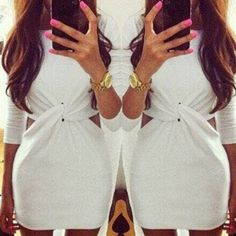 Sexy Round Collar Long Sleeve Solid Color Hollow Out Dress For Women white (Sexy Round Collar Long Sleeve Solid Color Hollow Out D) by http://www.irockbags.com/sexy-round-collar-long-sleeve-solid-color-hollow-out-dress-for-women-white
