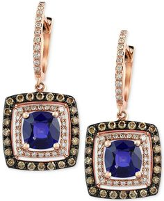 Velvet Bleu by EFFY Manufactured Diffused Sapphire (1-1/8 ct. t.w.) and Diamond (3/4 ct. t.w.) Earrings in 14k Rose Gold on shopstyle.com