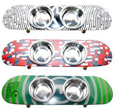 Skateboard pet food bowls