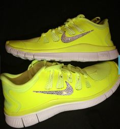 timeless design d6b9c d11f5 Crystal Nike Free 5.0 Volt Bling Running Shoes with Swarovski Crystals.jpg  Sparkle Shoes,