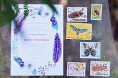 Purple Berry Floral Wreath Wedding Invitation by Lana's Shop