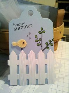 Cute tag using little bitty bird and picket fence die