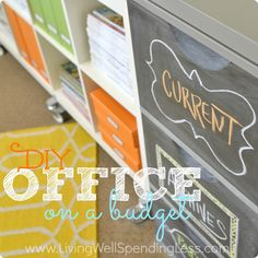 Brilliant - love this chalkboard file cabinet. What a fun way to organize paper!! DIY Office on a Budget | How to Decorate on a Budget | Home Office Ideas
