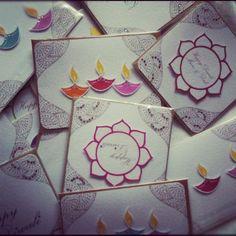 Handmade diwali cards, personalised for families too! Handmade Diwali Cards