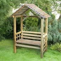 The Athena Wooden Garden Arbour from the Store More range. This traditional seated wooden arbour with its open-slatted apex roof, part-trellis sides and integral full-width seat, will create an attractive feature in any garden. The Athena's low cost offers amazing value, making it ideal as a gift for family or friends too. The Store More Arbours are a top quality range of garden products that are manufactured using timber sourced from managed resources. Supplied vacuum pressure treated as...