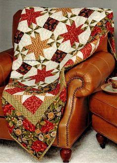 Autumn Star Shine Quilt Pattern Pieced NM