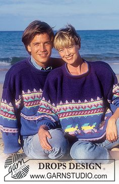 """DROPS 25-4 - DROPS jumper with fish pattern in """"Paris"""". Ladies or Men's size S – L. - Free pattern by DROPS Design"""