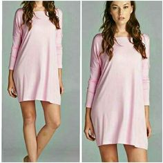 PINK PIKO DRESS Loose fit, long sleeve, round neck piko dress in light pink. Drop shoulder. This dress is made with heavyweight jersey that is soft and drapes beautifully. Available in S/M or M/L PLEASE COMMENT SIZE & I WILL MAKE YOU A SEPARATE LISTING PRICE IS FINAL 4 Bidden Boutique Dresses Long Sleeve