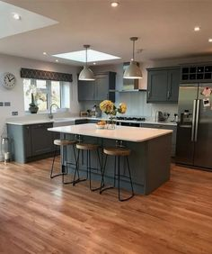 the blue painted kitchen interior design kitchen diner extension 1 Kitchen Room Design, Dining Room Design, Home Decor Kitchen, Interior Design Kitchen, Diy Kitchen, Kitchen Ideas, Kitchen Designs, Kitchen Pictures, Kitchen Hacks