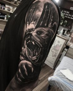 Grizzly half sleeve | Nature Tattoos | Tattoos, Bear ...
