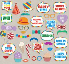 35 Candyland photo booth printable props by YouGrewPrintables Candy Land Theme, Party Props, Party Ideas, Theme Ideas, Christmas Party Themes, Christmas Games, Dance Decorations, Candy Party, Love Is Sweet