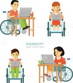 Disability worker people set royalty-free stock vector art