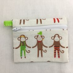 Monkey Zipper Coin Purse, Credit Card Wallet, Earbud Pouch, iPod Holder by NancyPKdesigns on Etsy