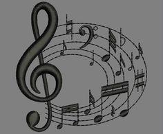 Bordados gratis - Matrizes e programas de bordado gratis em jef,dst,pes,exp,sew. Free Machine Embroidery Designs, Embroidery Stitches, Embroidery Patterns, Music Images, Janome, Stencils, Musicals, Symbols, Letters