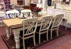 7 Ft Country French Farmhouse Table With 6 Plank Bottom Chairs By Urban  Chic Decor.