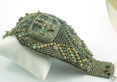 Jade Pyrtizia Earthstone beadwork textured cuff bracelet EBWC