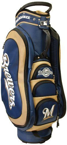 MLB Milwaukee Brewers Medalist Cart Bag, Navy by Team Golf. $149.99. 50% nylon/50% plastic. 8 location embroidery and 5 zippered pockets. Padded strap with strap pouch and fleece-lined valuables pouch. Integrated top handle and 14-way full length dividers. Removable rain hood and umbrella holder and towel ring. External putter well and 3 lift assist handles. This bag is loaded with features, including integrated top handle, 14-way full length dividers, 8 locat...