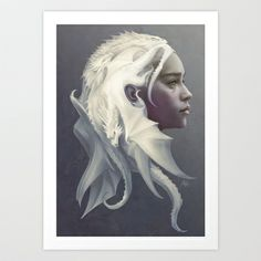 Mother of Dragons Art Print by Artgerm™ - $18.72    This is the difference between someone who can draw (me) and an ARTIST (him).  What an imagination, and what a beautiful piece!