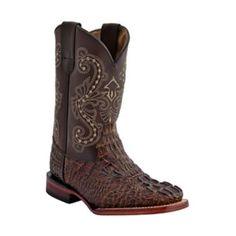 Ferrini Kids Print Caiman Sq Toe Choc Boots 1: FERRINI USA INC #Horse #Horses #Pets #Equestrian #Rider