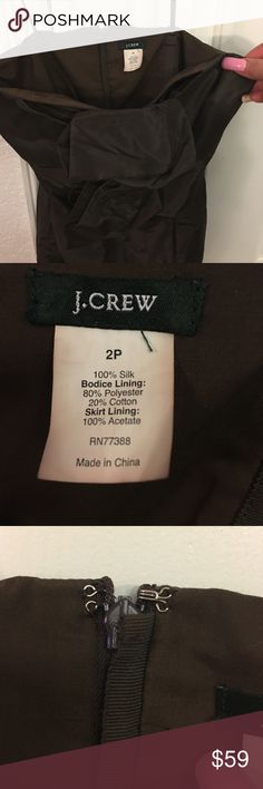 J. Crew Taffeta Dress Prom Formal cocktail Gorgeous J. Crew Chocolate Brown Taffeta Dress Strapless back zipper party special occasion prom formal cocktail wedding etc style #20621 has pockets one on each side that are not really visible  **No Trades** Only Reasonable offers will be considered **sold as is in preowned/ used condition with the expected wear associated with/to preowned used items J. Crew Dresses Prom