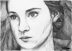 Black pen drawing of Shailene Woodley as Tris Prior in Divergent Tris Divergent Drawings, Divergent Fan Art, Divergent Trilogy, Divergent Insurgent Allegiant, Love Drawings, Art Drawings, Art Love Couple, Tris And Four, Harry Potter Ships