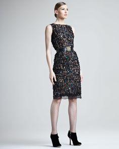 Jeweled Slim Lace Dress