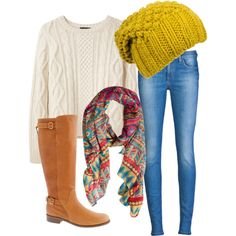 fall sweater scarf boots & hat