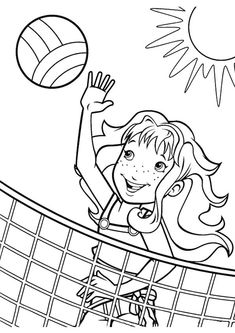summer coloring page of a girl playing volleyball