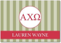 Sister Stripes: Alpha Chi Omega - Greek Thank You Cards - Alpha Chi Omega in Cranberry Red. #graduation