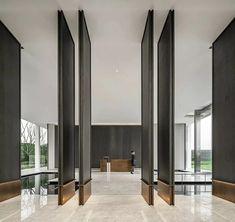Lobby Design, Hall Design, Design Design, Modern Office Design, Modern Interior Design, Modern Offices, Lobby Interior, Interior Architecture, Partition Door