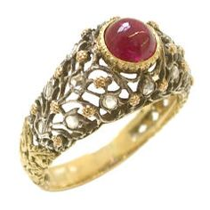 Buccellati - BUCCELLATI Gold and Diamond Ruby Ring, circa 1960 offered by Kimberly Klosterman Jewelry on InCollect Art Nouveau, Italian Jewelry, Fantasy Jewelry, Silver Diamonds, Fine Jewelry, Jewelry Rings, Women's Rings, Gold Rings, Vintage Engagement Rings
