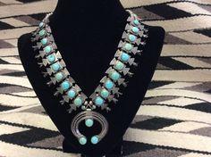 Old Pawn Navajo Box Bow Squash Blossom Necklace *Beautiful*
