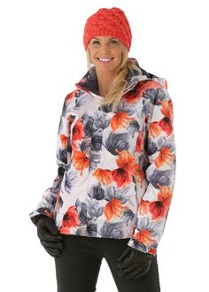 Shelley in a white jacket with apricot   slate blue floral patterns. Ski  And Snowboard 103d79149e