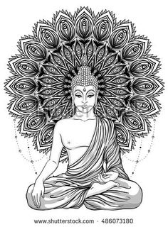 Sitting Buddha Statue over ornate mandala inspired pattern. Buddha Tattoo Design, Buddha Tattoos, Mandala Tattoo Design, Dotwork Tattoo Mandala, Lotus Tattoo, Tattoo Ink, Buddha Symbol Tattoo, Hand Tattoos, Sleeve Tattoos