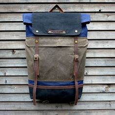 Waxed canvas backpack   rucksack with folded top and waxed canvas  shoulderstrap and bottom Vászon Hátizsák e858eb72d3