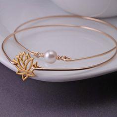 Yoga Jewelry, Lotus Bracelet, Gold Lotus Bangle Bracelet Set, Pearl Bracelet