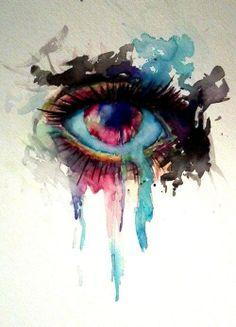 eye, watercolour, ecoline