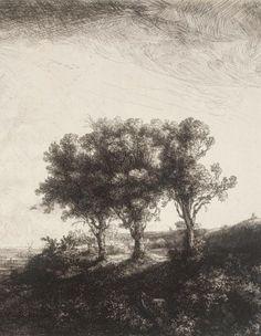 Les Trois Arbres (Bartsch 212) - Rembrandt (1606-1669) - 1643