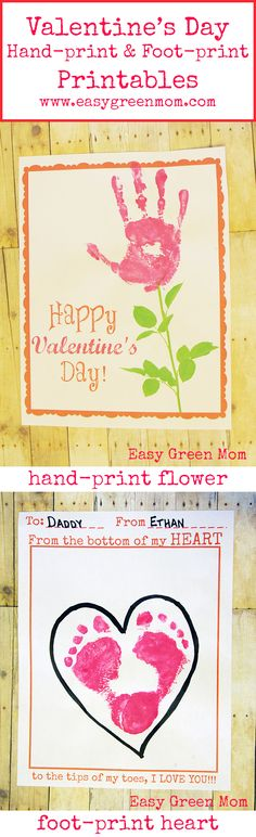 Valentine's Day Kids Flower Hand-print and Heart Foot-print Free Printable