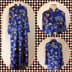 Royal Blue Robe with Brilliant Yellow Poppy Floral by TreasureIsle