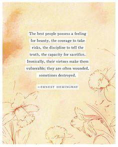 Ernest Hemingway quote poster The best people by Riverwaystudios