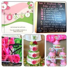 Baby shower for a girl, invite, DIY headbands, diaper cake, pink and green