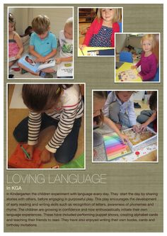 I n Kindergarten the children experiment with language every day. They start the day by sharing stories with others, before engaging in . Learning Goals, Early Learning, Kids Learning, Learning Spaces, Visible Learning, Learning Through Play, Educational Activities, Learning Activities, Alphabet Activities