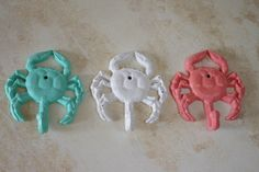 Cast Iron Crab Hook - Beach Decor - PICK YOUR COLOR by ByTheSeashoreDecor on Etsy https://www.etsy.com/listing/126679618/cast-iron-crab-hook-beach-decor-pick
