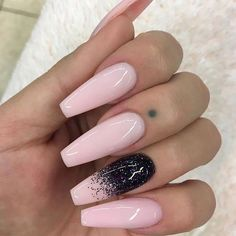 coffin nail art 2017 | design | ideas | inspirations | pink | glitter | sparkle | acrylic | simple | easy