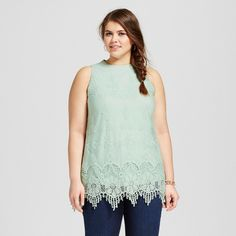 Women's Plus Size Lace Detail Tank Top Sage Fling 1X - 3Hearts