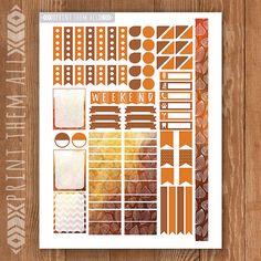 Autumn Leaf Printable Planner Stickers by PrintThemAllStudio