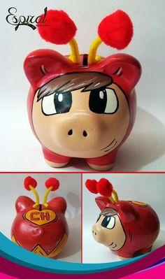 Trabajo alcancias Personalized Piggy Bank, Paper Mache Clay, Mixed Media Tutorials, Cute Piggies, Color Crafts, Batman, Altered Art, Washi, Craft Projects